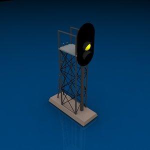 3 light signal yellow 3d model