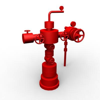 3d model of wellhead christmas tree