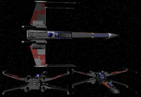 3d model x-wing wings fighter space