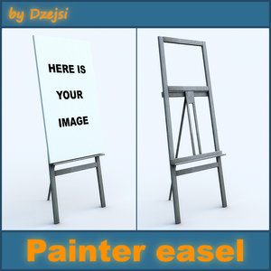 painter easel painting 3d model