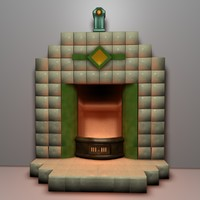 art deco fireplace 3d c4d