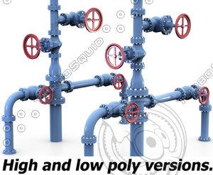 3d wellhead pipe model
