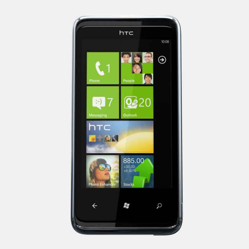 htc 7 pro mobile phone 3d model