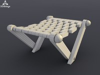 3d wooden folding chair model