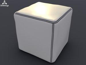 3d leather square pouffe