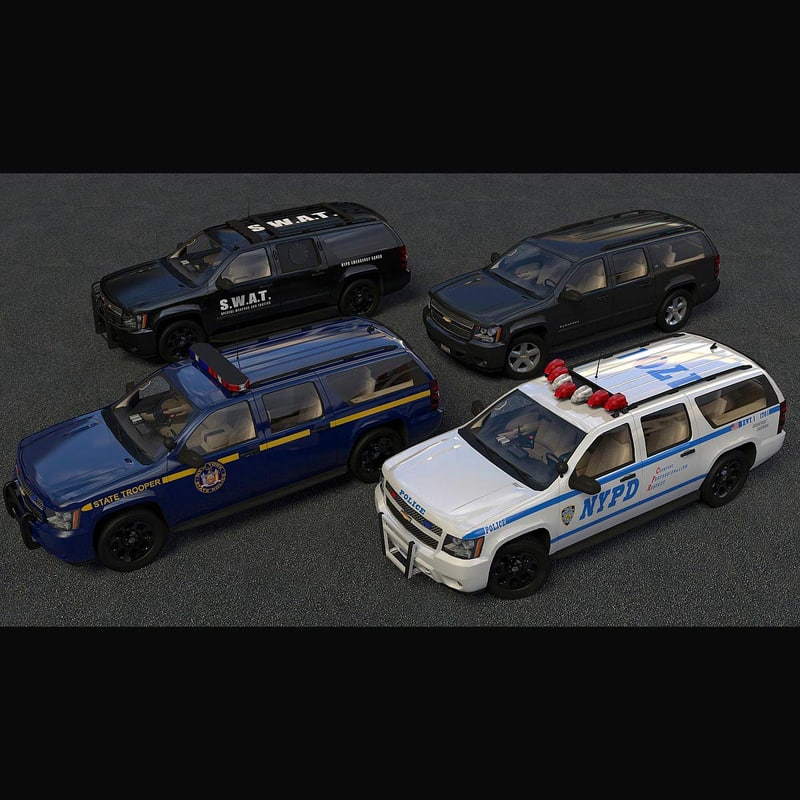 3d model chevrolet suburban police swat