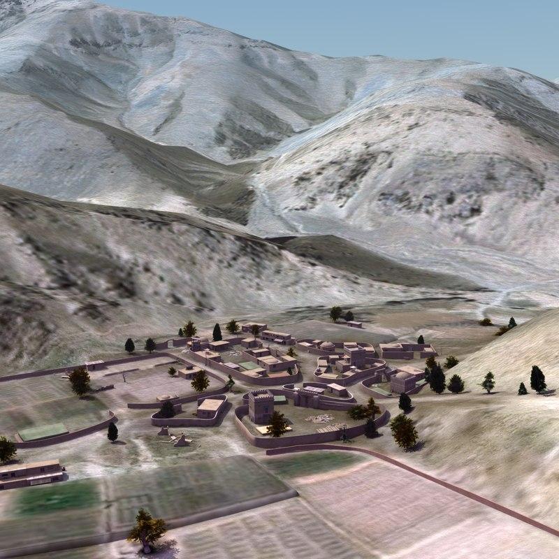 terrain arab village 3d 3ds