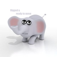 Cartoon Elephant - RIGGED