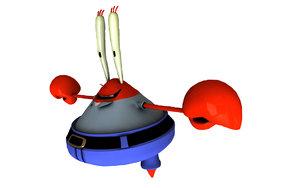 mr krabbs spongebob 3d c4d
