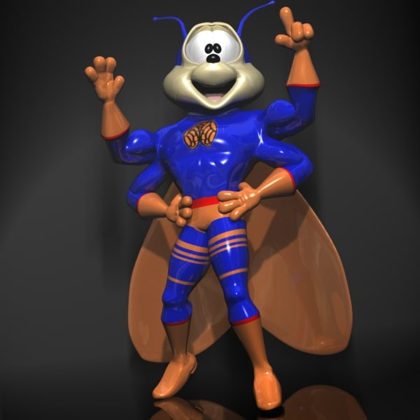 3d super hero character rigged