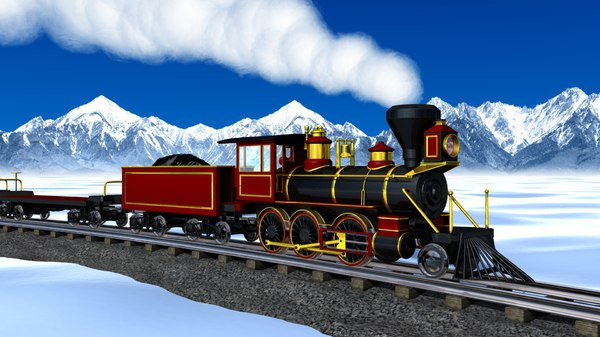 3ds max train engine steam set