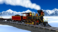 C4D High Polygon Steam Engine Train Set