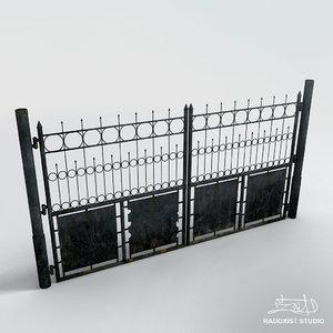 3d model old metal gate