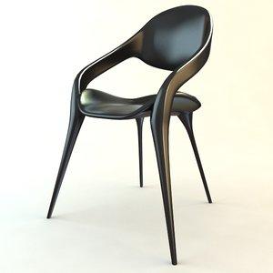 3ds max black plastic chair