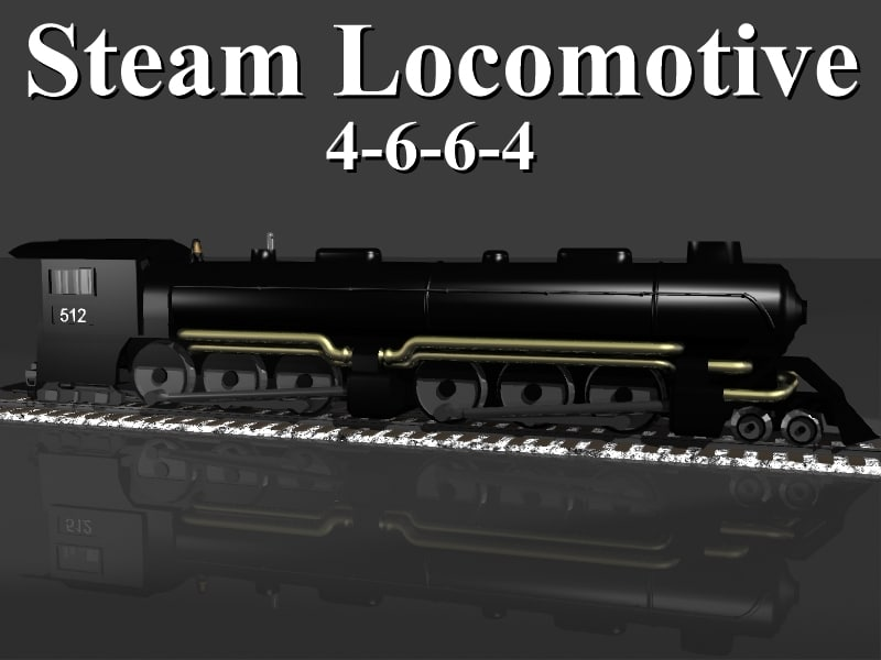 3d model 4-6-6-4 steam locomotive