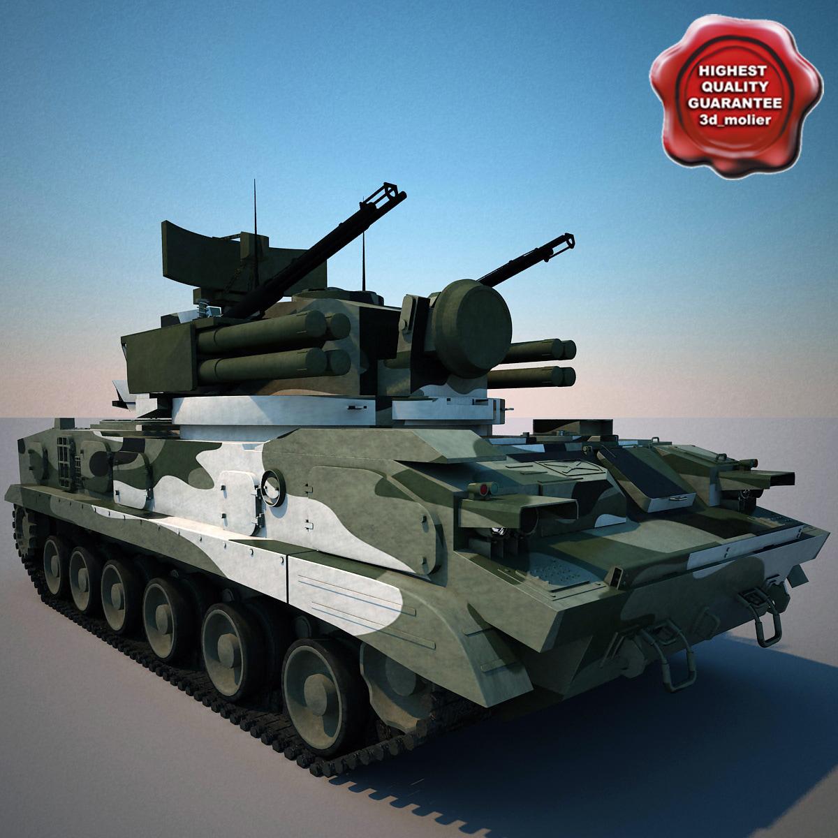 9k22 tunguska sa-19 grison 3d model