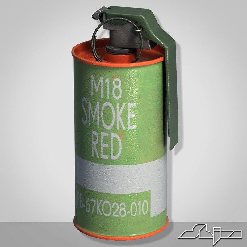 3d model m18 red smoke grenade