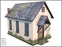 Old Cottage II, Low Poly, Textured