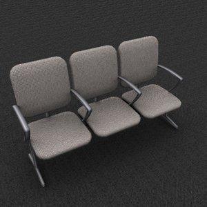 3d triple office chair model