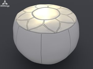 traditional leather pouffe 3d model