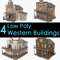 Western Buildings Collection III, Low Poly, Textured
