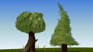 3d model cartoon trees