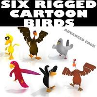 SIX_CARTOON_BIRDS_RIGGED