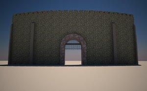 3d curved medievil castle gates model