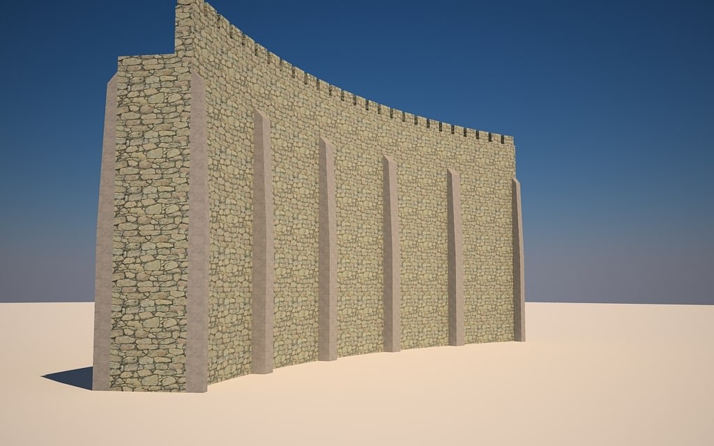 3dsmax seamless curved castle walls