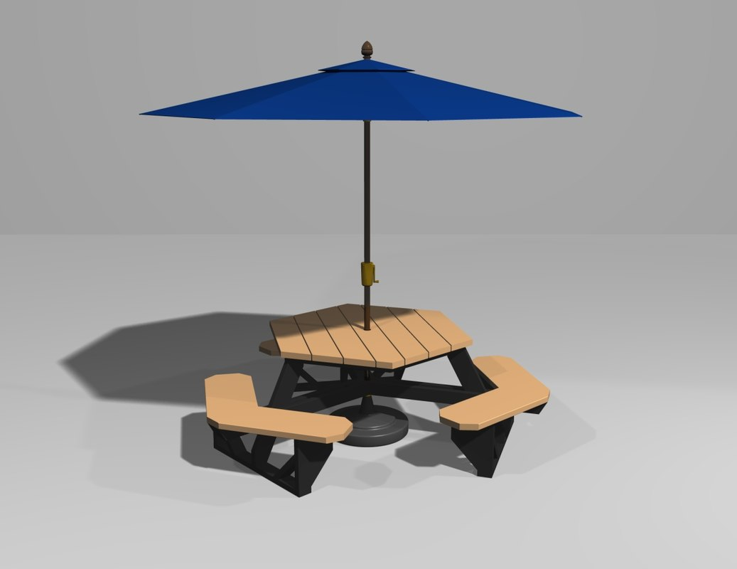 Hexagonal Picnic Table Umbrella 3d Lwo