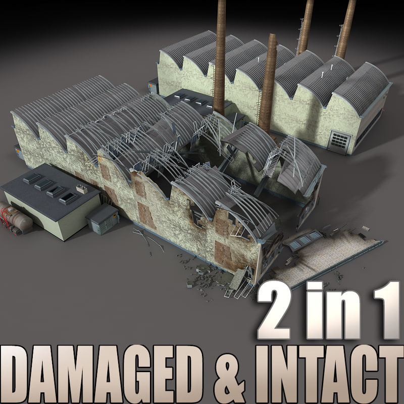 destroyed building factory intact 3d model