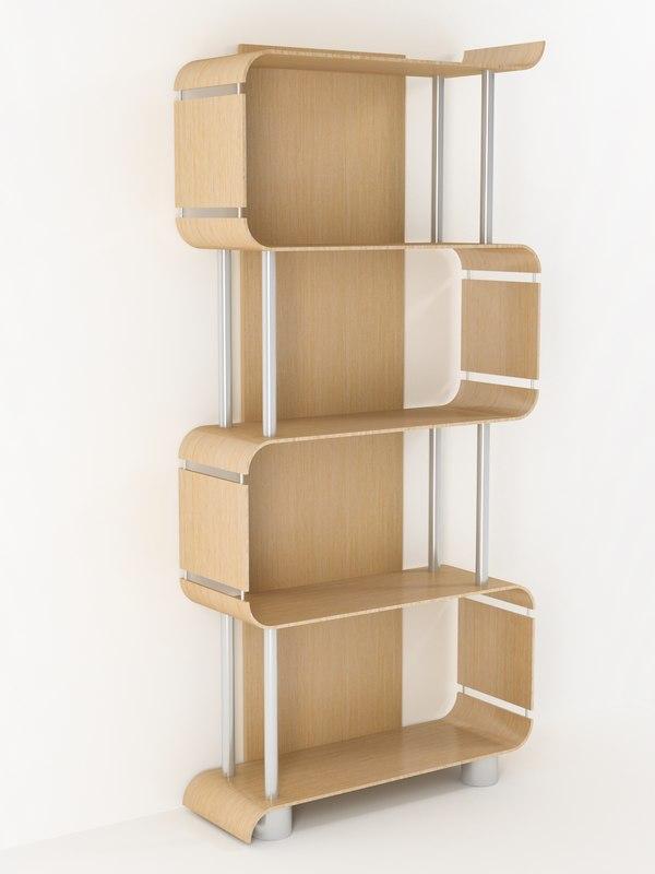 bookcase wood steel 3d model