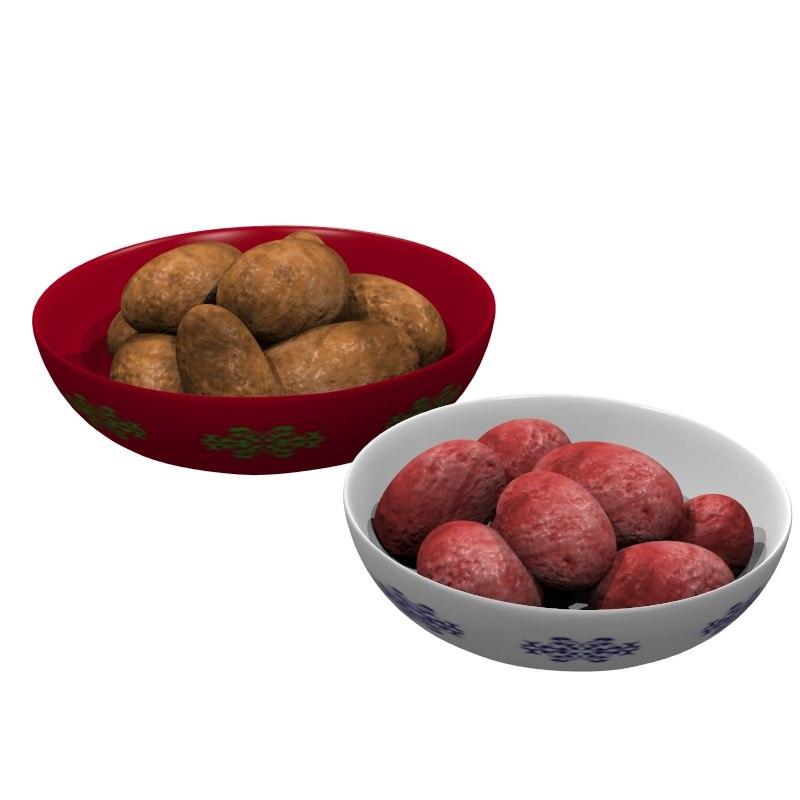 bowls potatoes 3d model