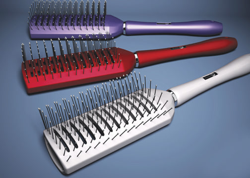 3d model hairbrush brushed