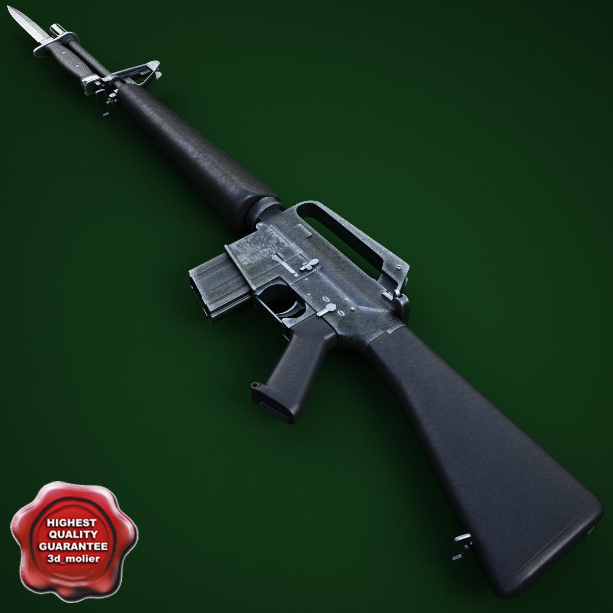 m16a1 assault rifle m7 3d max