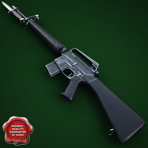 m16a1 assault rifle m7 3d max