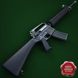 m16a2 assault rifle 3d model