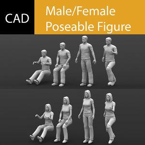 maya poseable male female solidworks
