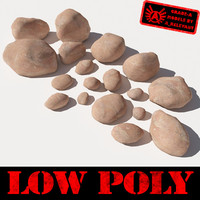Rocks - Stones 4 Low Poly Smooth RS03 - Light Red or Orange 3D rocks or stones