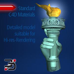 3d c4d statue liberty torch