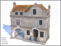 WWII Tenement, Low Poly, Textured