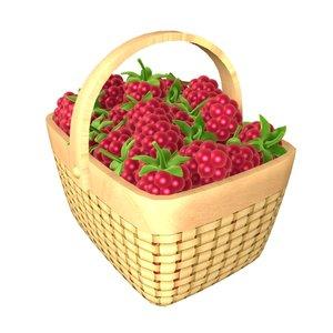 3d raspberries basket model