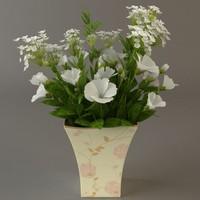white bouquet 3d 3ds