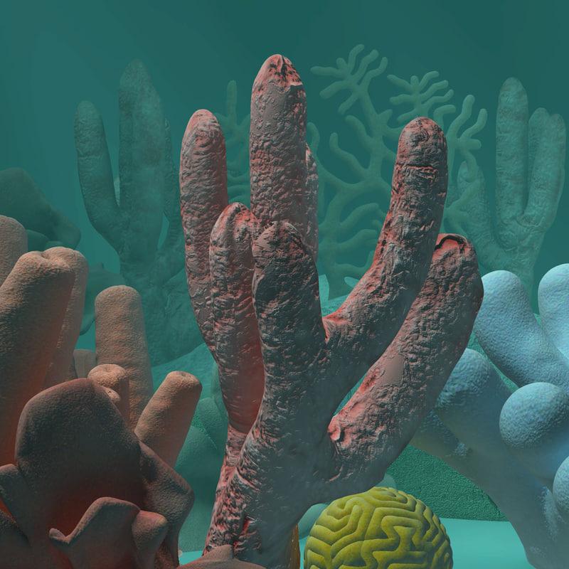 3d corals underwater