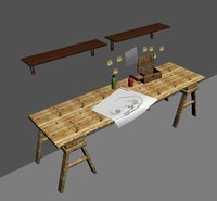desk items 3d model
