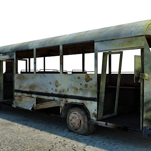 3d model ready wrecked bus -