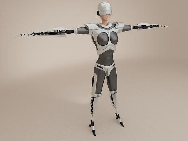 3d model of female cyborg