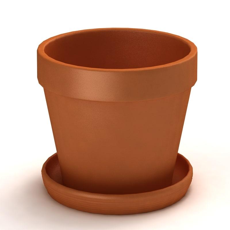 terracotta pot plants 3d 3ds