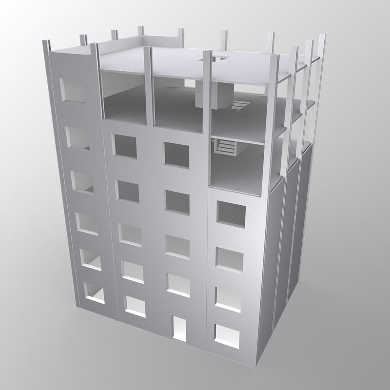 unfinished building 3d model
