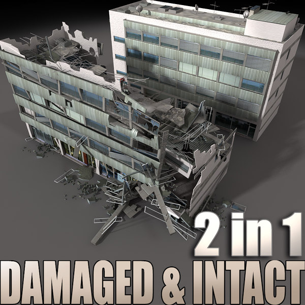 3d destroyed building intact model
